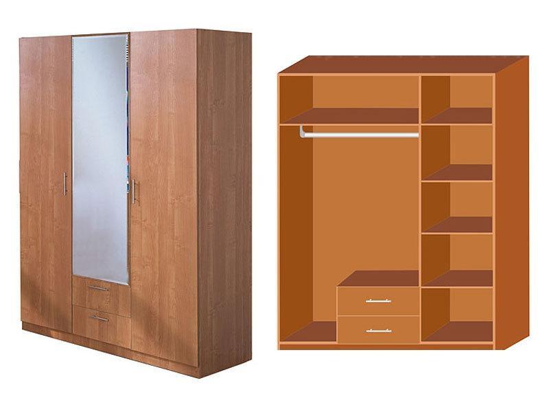 Эконом шкаф 3-х дверный с зеркалом, боровичи-мебель - купить.